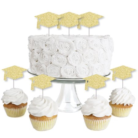 Gold Glitter Grad Cap - No-Mess Real Gold Glitter Dessert Cupcake Toppers - Graduation Party Clear Treat Picks - 24 Ct