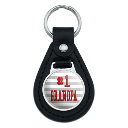 #1 Grandpa Number One Grandfather Black Leather Keychain