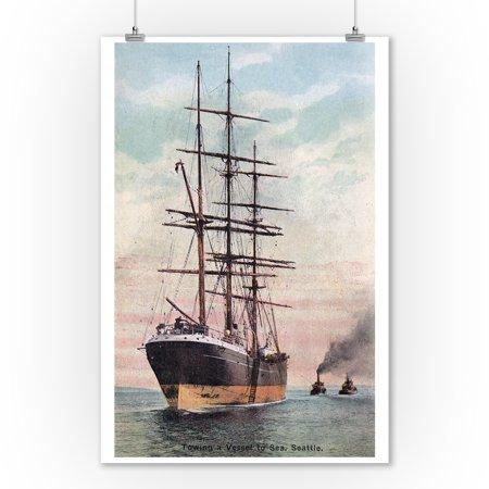 Seattle, Washington - Tugboats Towing a Ship to Sea (9x12 Art Print, Wall Decor Travel Poster) (Tugboat Print Shop)