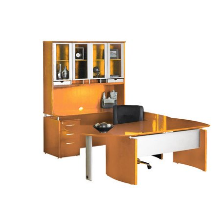 Excellent Mayline Napoli Series U Shape Computer Desk Hutch Curved Extension Recommended Item