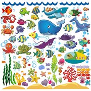 Ocean Fish Wall Stickers for Toddlers and Kids, Decorative Underwater Decals with Under The Sea Animals for Bathroom, Bedroom, and Playroom, Removable Peel and Stick Fishes Stickers That Clings