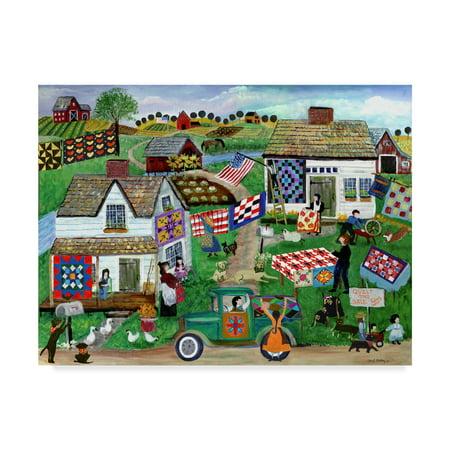 Trademark Fine Art 'Country Folk Art Quilt Tag Sale' Canvas Art by Cheryl Bartley - Folk Art Halloween Quilts