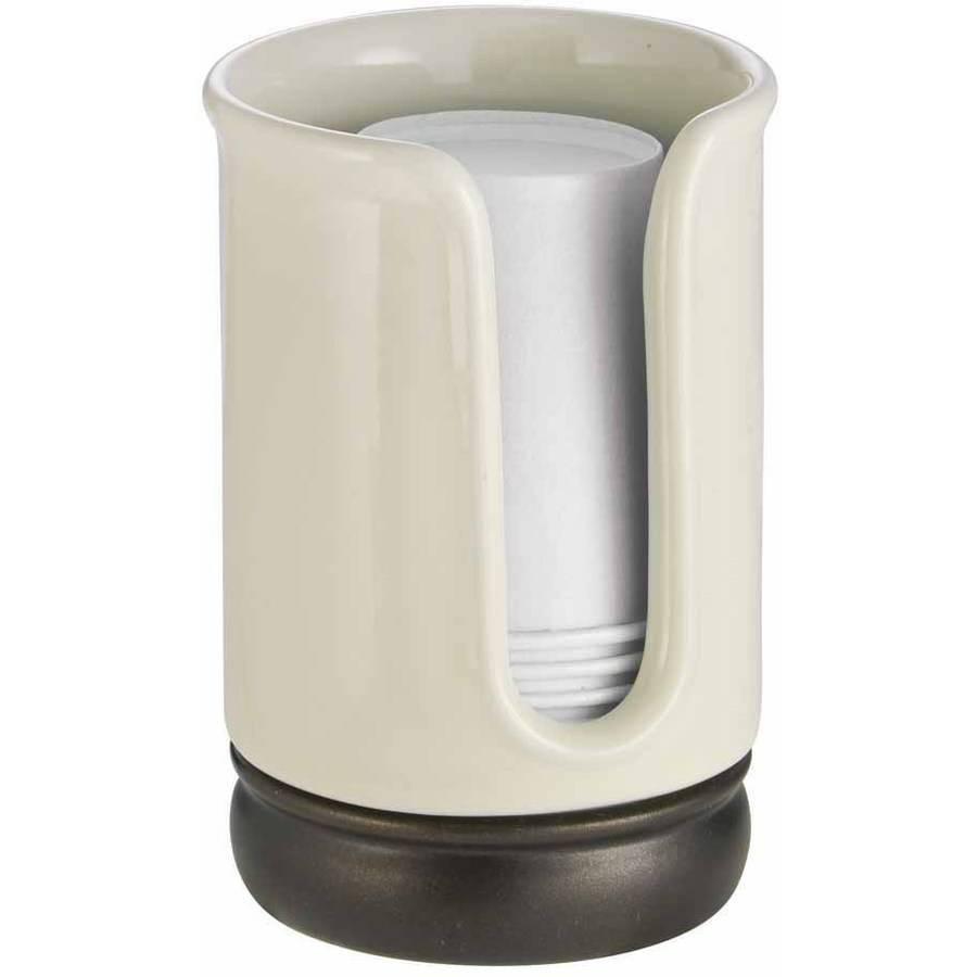 InterDesign York Disposable Paper Cup Dispenser for Bathroom Countertops, Vanilla/Bronze