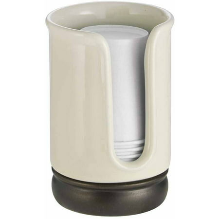 InterDesign York Disposable Paper Cup Dispenser for Bathroom Countertops, Vanilla/Bronze