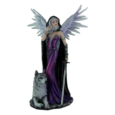 Elegant Purple Angel Winged Female Wolf Warrior
