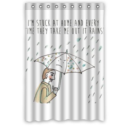 BSDHOME Funny Umbrella Rain Men Painting Waterproof Bathroom Fabric Shower Curtain 48x72 inches - image 1 de 1