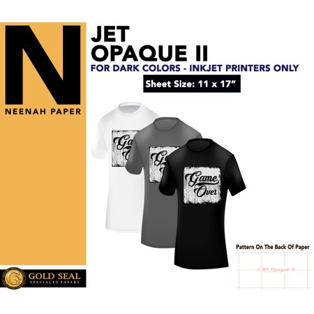 IRON ON T-SHIRT HEAT TRANSFER PAPER JET OPAQUE II 11 x 17