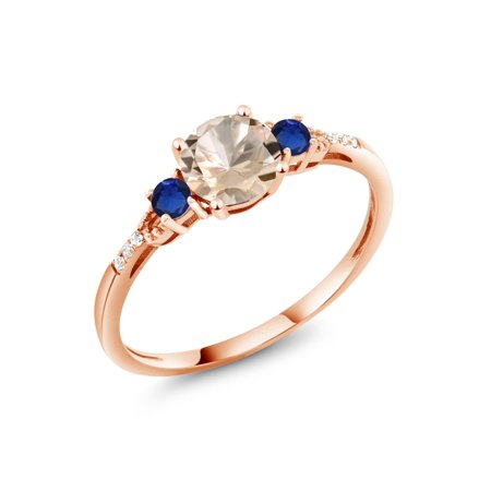 0.80 Ct Round Peach Morganite Blue Simulated Sapphire 10K Rose Gold Ring ()