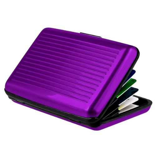 Zodaca Universal Card Holder Case, Purple Aluminum Covering Pocket Business ID Credit Cards Metal box