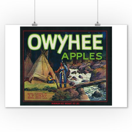 Owyhee - Native American - Apple Crate Label (9x12 Art Print, Wall Decor Travel Poster)