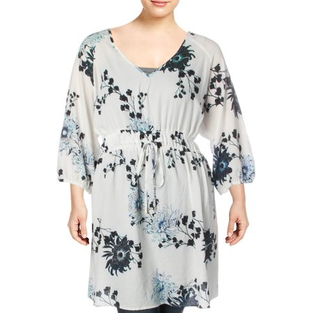 City Chic Womens Plus Printed Textured Tunic Top Ivory 18