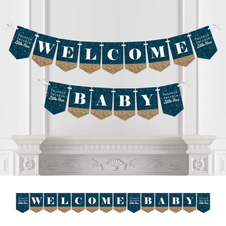- twinkle twinkle little star - baby shower bunting banner - blue party decorations - welcome baby