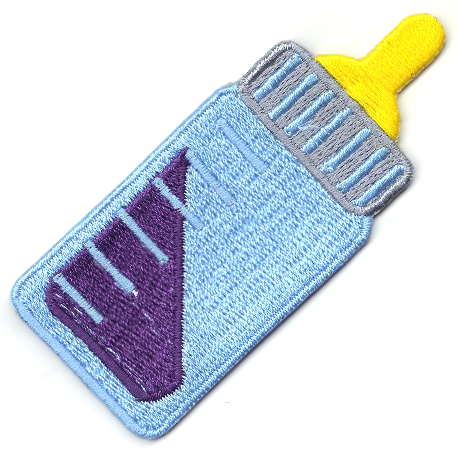 Baby Bottle With Purple Lean Logo Iron On Patch
