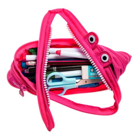 ZIPIT Monster Pencil Case for Kids, Holds up to 30 Pens, Machine Washable, Made of One Long Zipper! (Pink)
