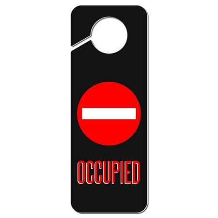 Occupied Red Circle Plastic Door Knob Hanger -