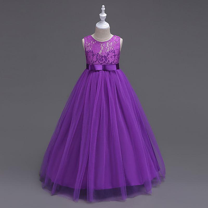 2018 Kids Girl Floral Printed Dress Formal Wedding Birthday Party Princess Dress