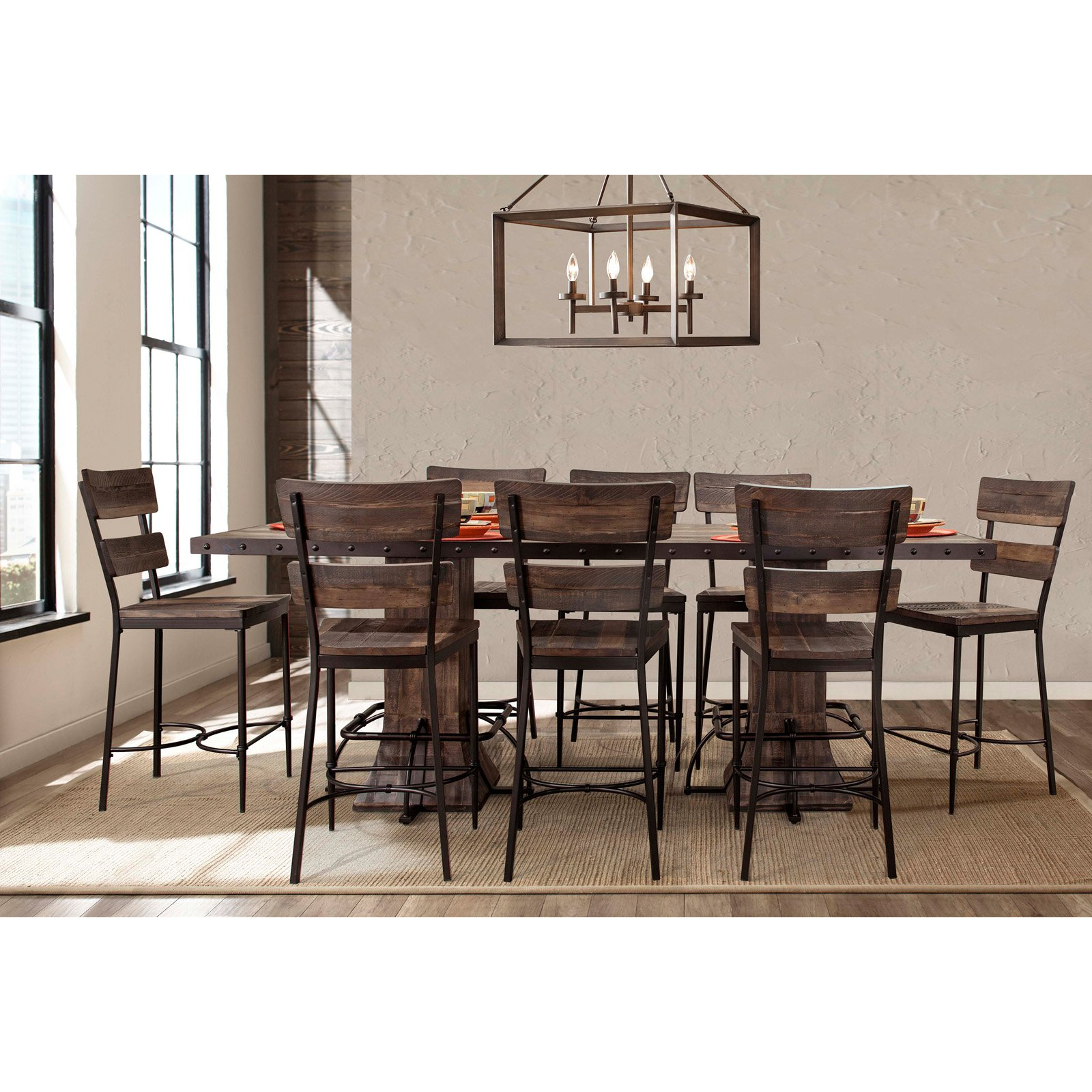 Hillsdale Furniture Jennings 9-Piece Rectangle Counter Height Dining Set with Non-Swivel Counter Stools