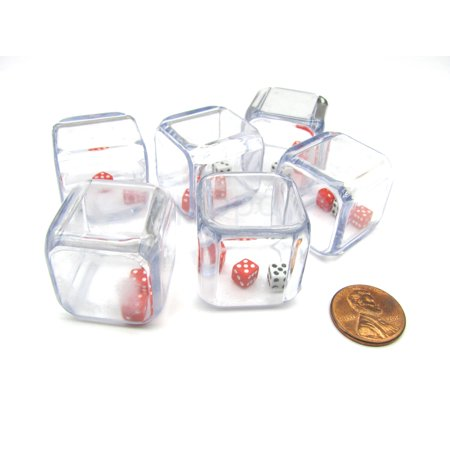 Three Man Dice (Koplow Games Pack of 6 '3 In a Cube' Dice - 2 x 5mm Red + 1 x 5mm White Dice Inside 25mm Cube)