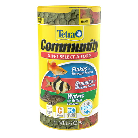 Tetra Community Select-A-Food, For All Aquarium Feeding Levels, 3.25oz Aquarium Fish Food Pellets