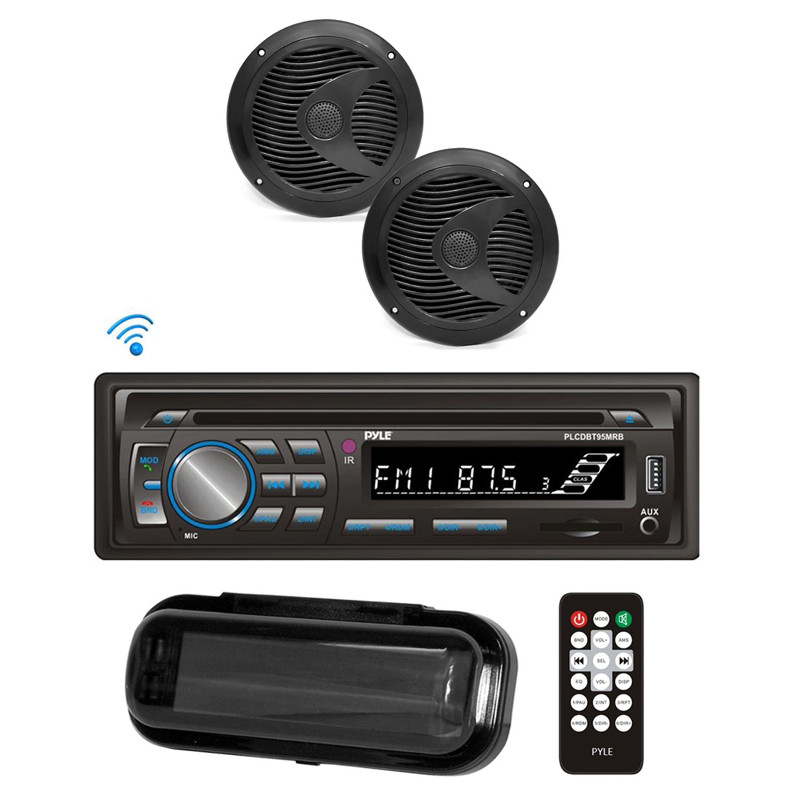 "BT Marine Stereo Radio Receiver & Waterproof Speaker Kit, Hands-Free Talking, CD Player, MP3/USB/SD Readers, AM/FM Radio, (2) 6.5"" Speakers"