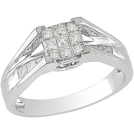 1 2 Carat TW Princess Cut Diamond Engagement Ring In 10kt White Gold