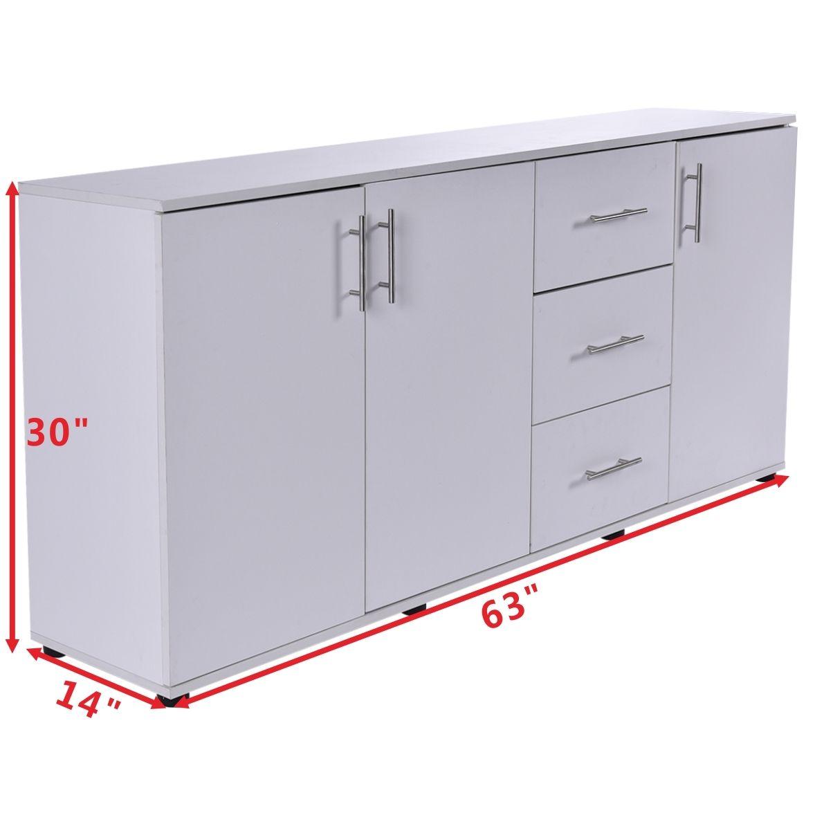 Costway Three Doors Storage Cabinet Cupboard Organizer Shelves Pantry Kitchen Furniture