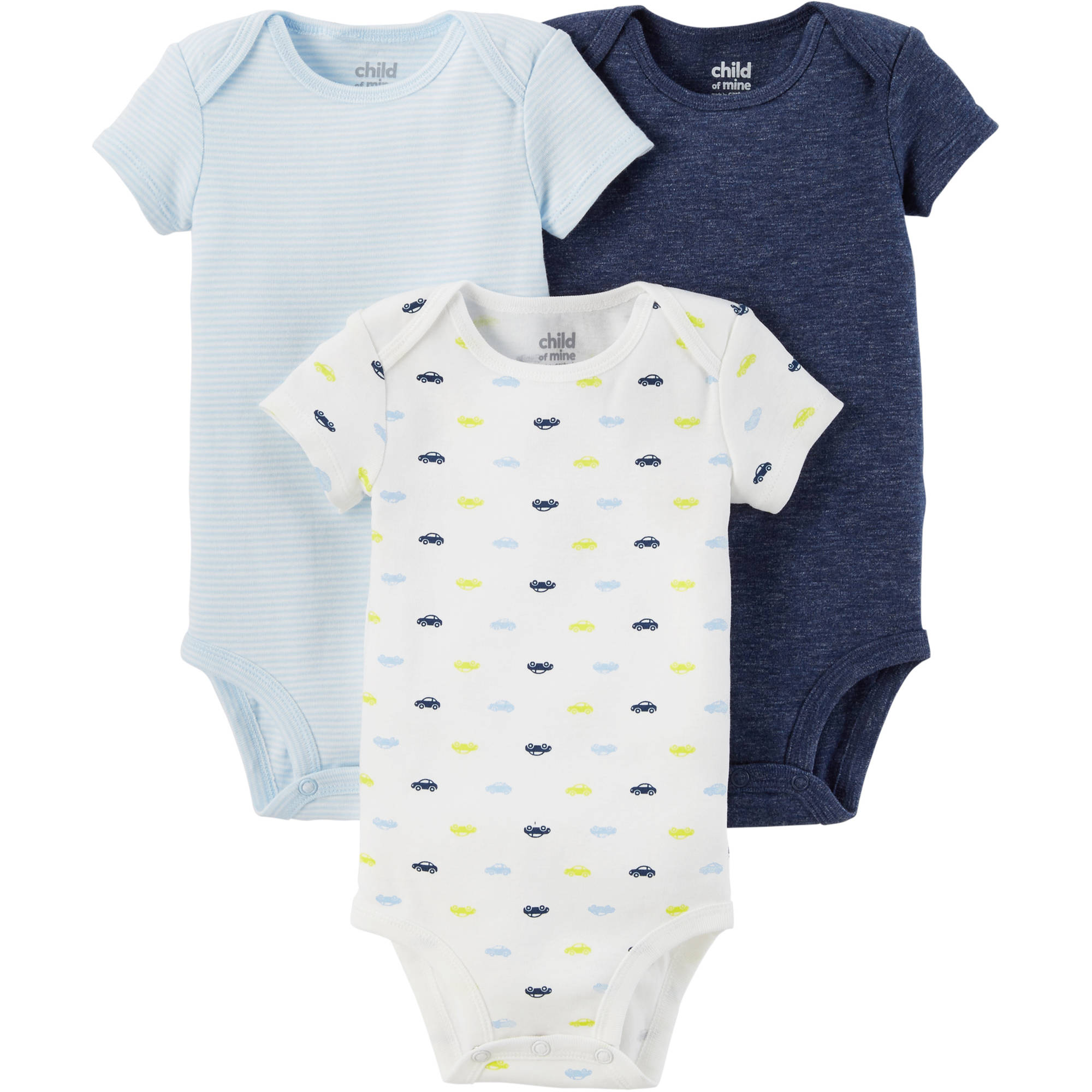 Child of Mine by Carter's Newborn Baby Boy Basic Short Sleeve 3 Pack Bodysuit