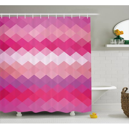 Hot Pink Shower Curtain, Classical Simple Modern Design with Vibrant Colored Diamond Line Pattern, Fabric Bathroom Set with Hooks, Pink Peach Fuchsia, by Ambesonne ()