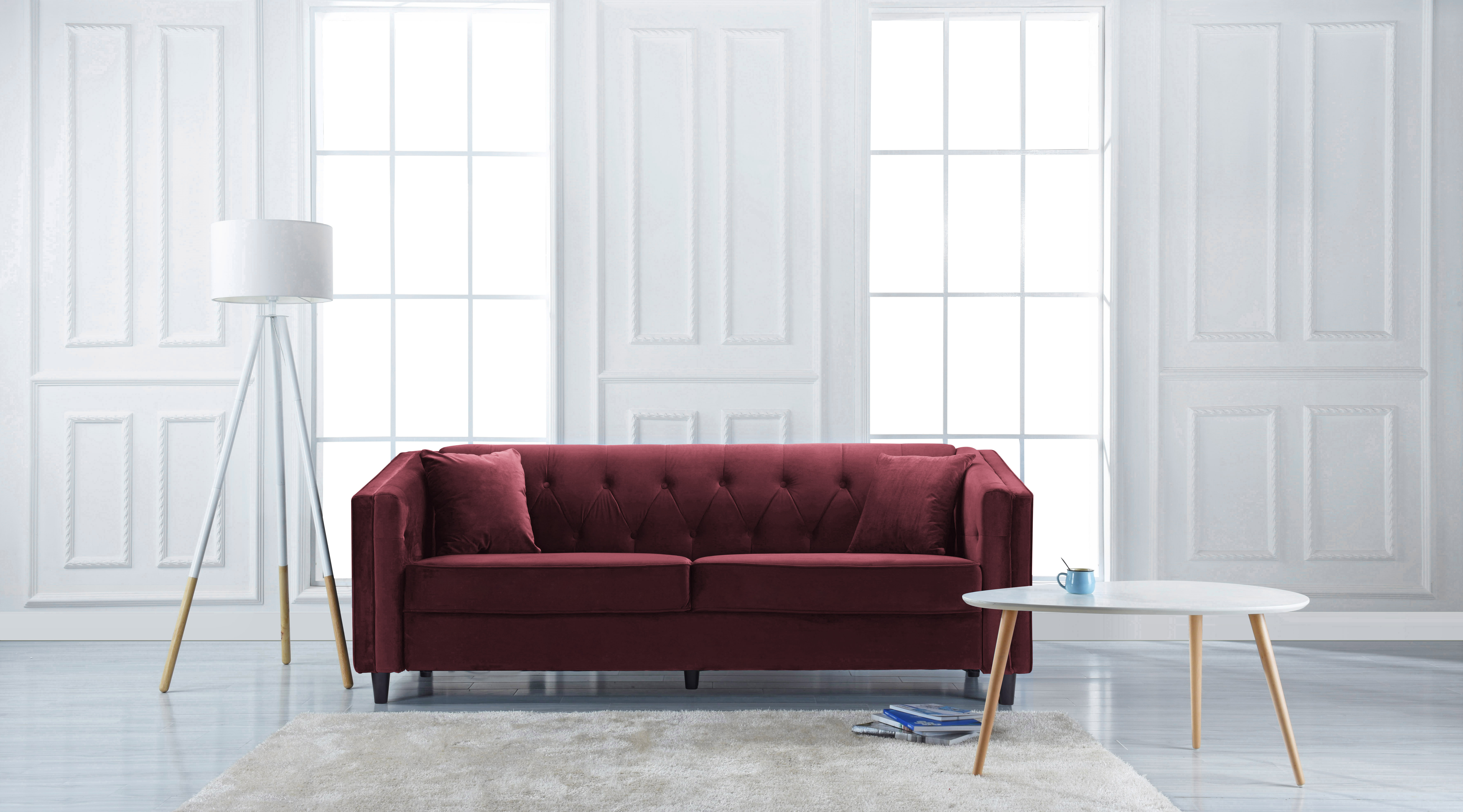 Classic Victorian Style Tufted Velvet Sofa, Living Room Couch With Tufted  Buttons (Maroon)   Walmart.com