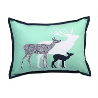 Bacati - Tribal Deer Family Dec Pillow 12 x 16 inches with removable 100% Cotton cover and polyfilled pillow insert, Mint/Navy