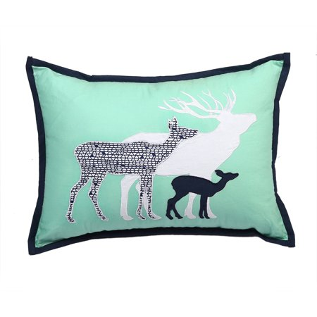16 Inch Embroidered Plush Pillow - Bacati - Tribal Deer Family Dec Pillow 12 x 16 inches with removable 100% Cotton cover and polyfilled pillow insert, Mint/Navy