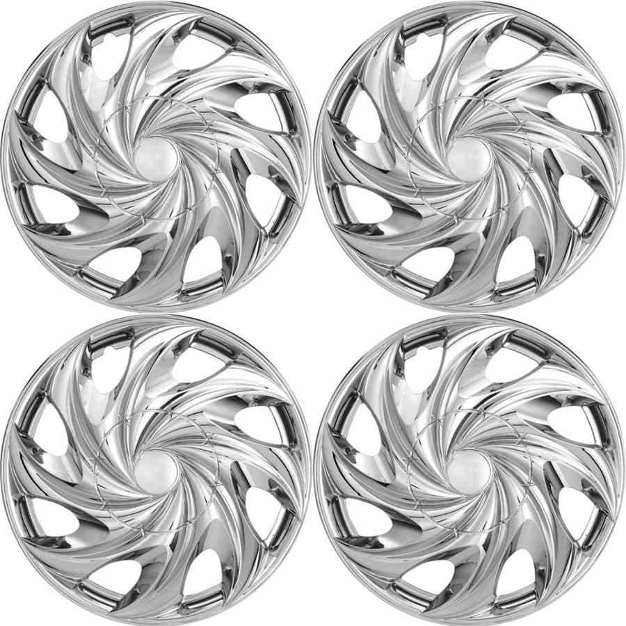 """4-Piece Set of 14"""" Chrome Hub Caps Full Lug Skin Rim Cover for OEM Steel Wheel"""