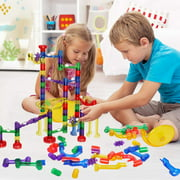 Marble Run Set, 152 Pcs Marble Race Track for Kids with Glass Marbles Upgrade Marble Works Set