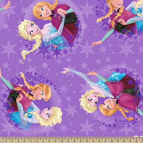 "Disney Frozen Sisters Ice Skating Snowflake Badge Fleece, Purple, 59/60"" Wide, Fabric By The Yard"