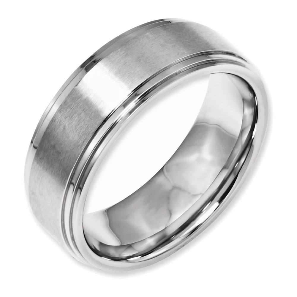 Stainless Steel Ridged Edge 8mm Brushed and Polished Band Size 9