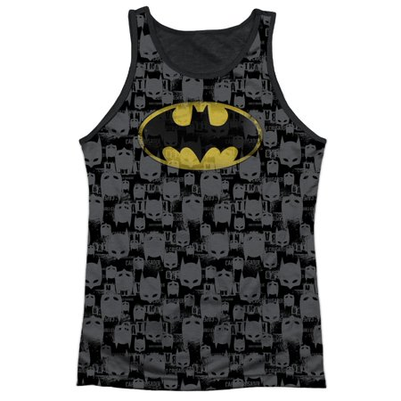 Batman Cartoon TV Series Movie Faded Mask Logo Adult Black Back Tank Top (Adult Movie Batman Mask)