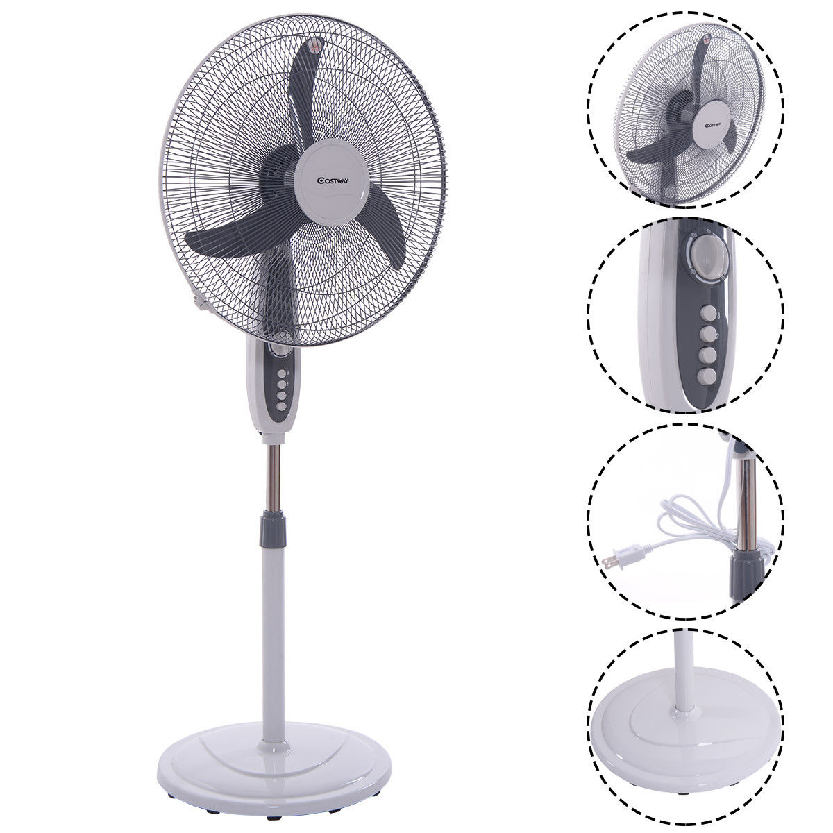 Costway 18 Pedestal Fan 3-Speed Oscillating Stand Floor Manual Control Timer Swing Head