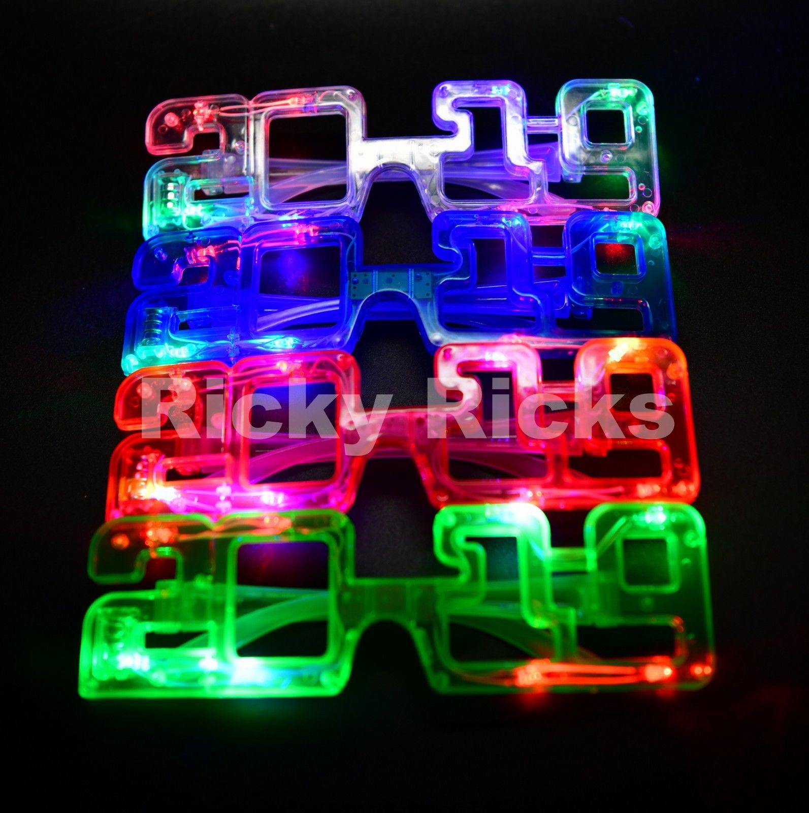 Light Up New Years Eve Party Glasses LED Supplies 2019 Glowing Happy Supplies 12 Pack