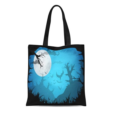 KDAGR Canvas Tote Bag Halloween Blue Spooky A4 Border Moon Death Trees Reusable Shoulder Grocery Shopping Bags Handbag