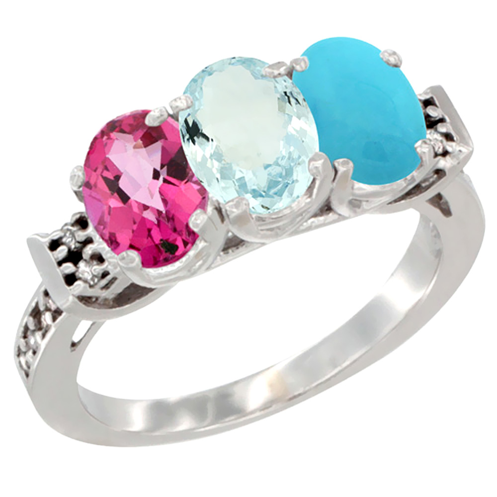 14K White Gold Natural Pink Topaz, Aquamarine & Turquoise Ring 3-Stone 7x5 mm Oval Diamond Accent, sizes 5 10 by WorldJewels