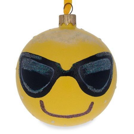 BestPysanky Cool Sunglasses Emoji Glass Ball Christmas Ornament 3.25 Inches