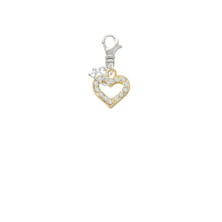 Goldtone Crystal Open Heart - 2019 Clip on Charm Crystal Open Heart Charm