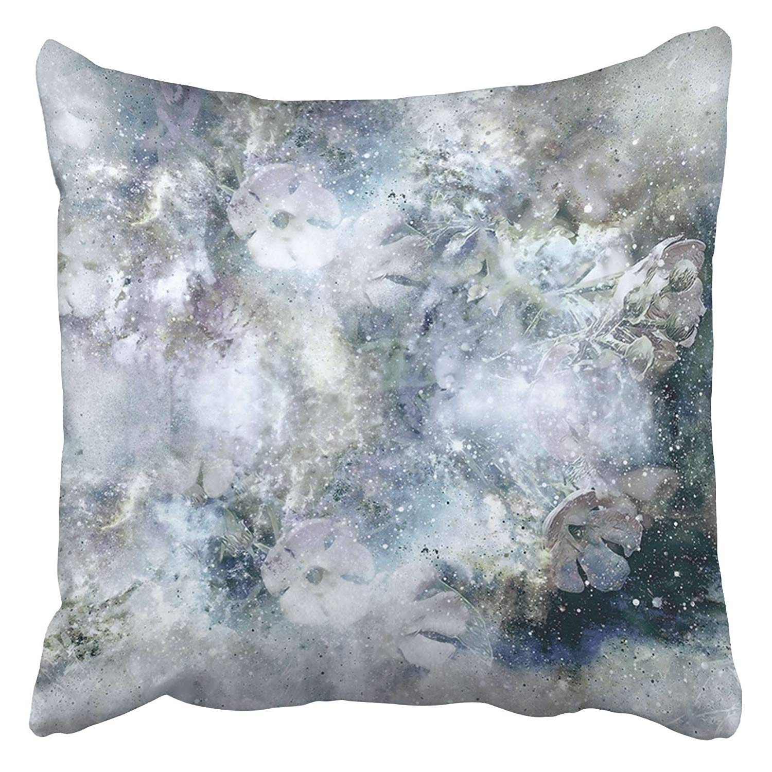 CMFUN Blue Beauty Flovers Freezed Under Ice Abstract Computer Collage Winter Motive Book Pillow Case Cushion Cover 18x18 inch