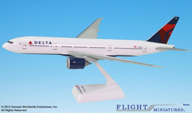 Flight Miniatures Delta Airlines Boeing 777-200LR 1 200 Scale Model with Stand by