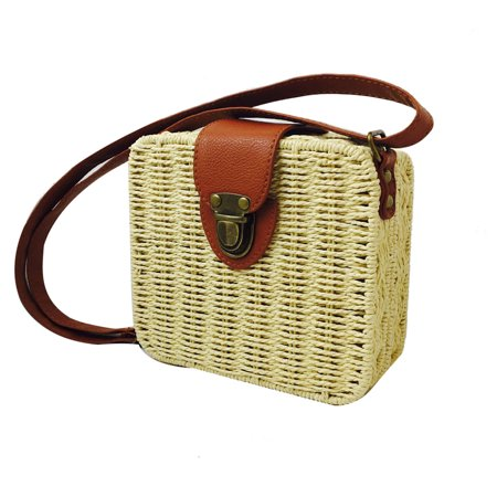 Ustyle Women Rattan Woven Square Shoulder Bag Summer Beach Braided Crossbody Bag with Adjustable Strap, Rose Red - image 1 of 9