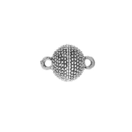 Magnetic Clasp, Beaded Sphere Design 15x10mm, 1 Set, Platinum -