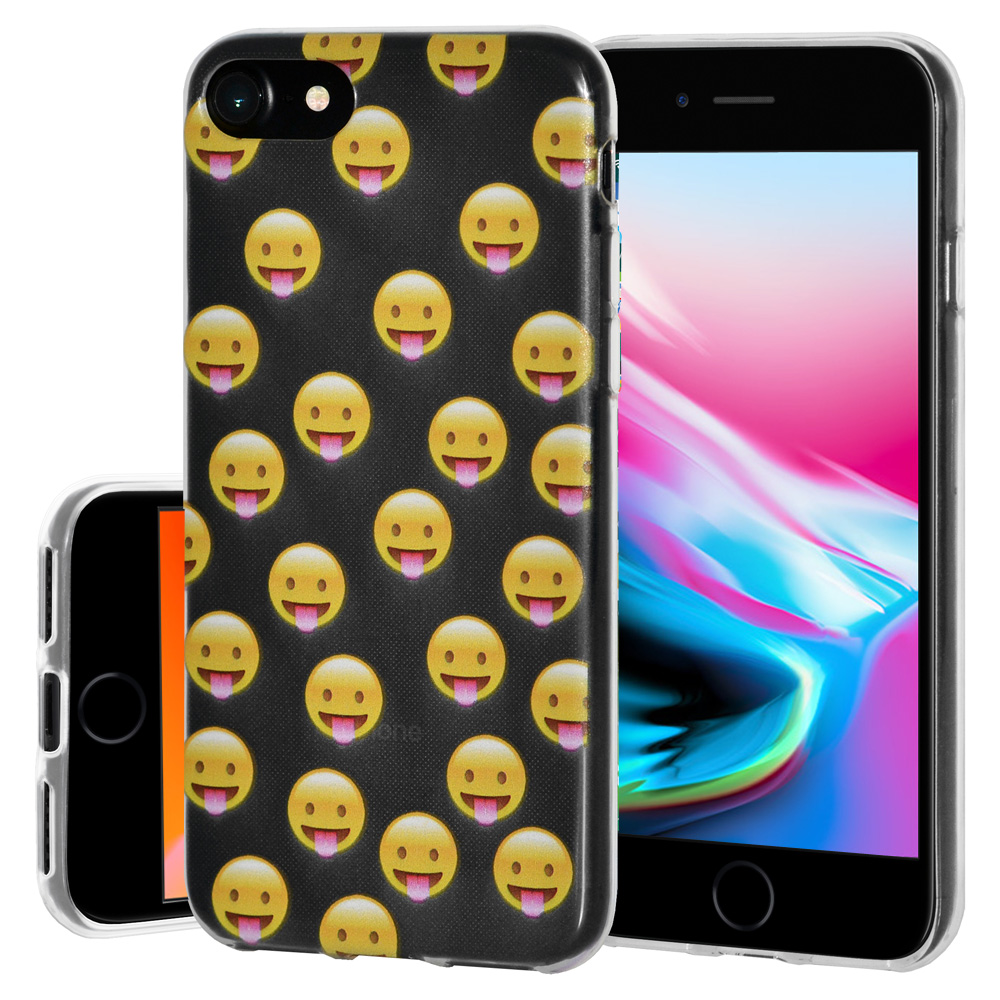 iPhone 8 Case, Premium Soft Gel Clear TPU Graphic Emoji Skin Case Cover for Apple iPhone 8 - Tongue Out, Support Wireless Charging, Slim Fit, ShockProof