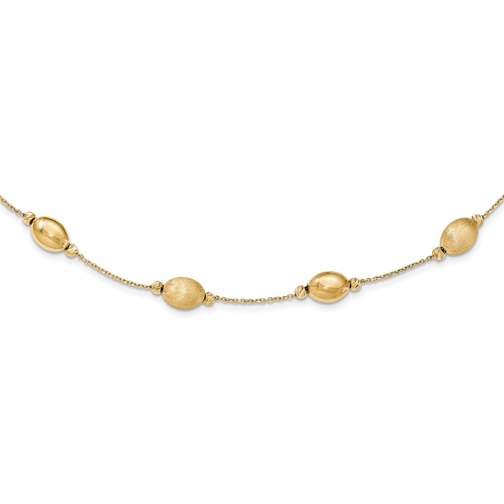 """14K Yellow Gold Brushed Polished and Diamond-Cut Beaded Necklace -18"""" (18in x 8mm)"""