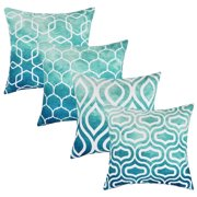 Set of 4 Pillow Covers 18 x 18'' Teal Decorative Cushion Cover for Couch Square Design Throw Pillow Case for Sofa Home ,Office by Tayyakoushi