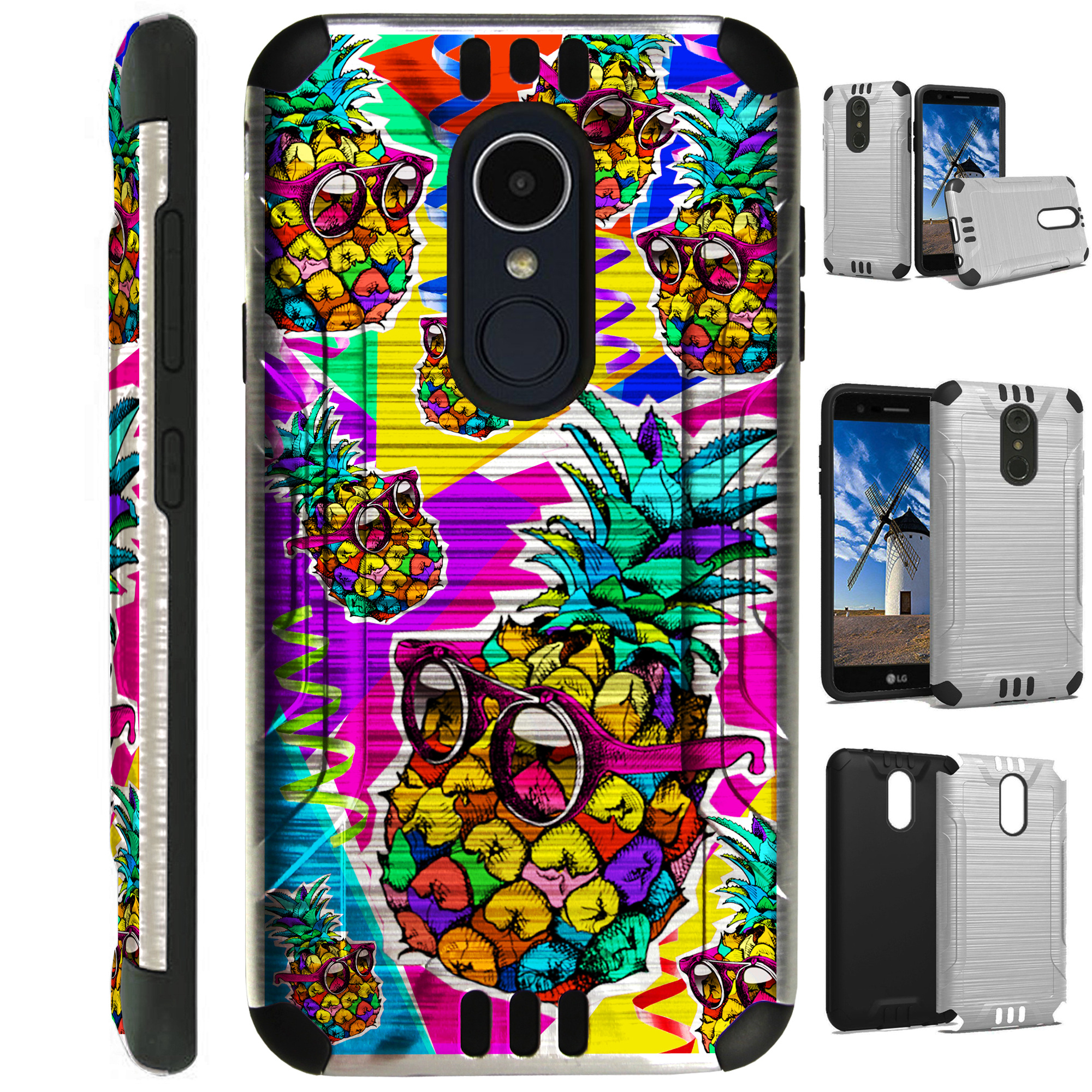 Silver Guard Phone Case Cover For LG Aristo 2 X210   Tribute Dynasty   K8 (2018) (Pineapple Party)